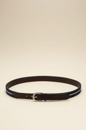 CURVED BUCKLE LEATHER BELT WITH STRIPED DETAIL