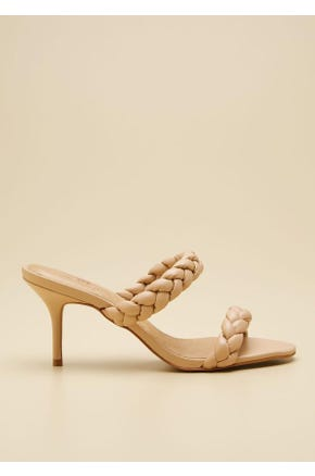 BRAIDED STRAP MID HEEL SHOES