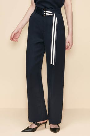 STRAIGHT PANTS WITH STRIPED TAPE