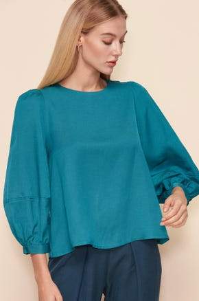 VOLUME SLEEVES TURQUOISE BLOUSE