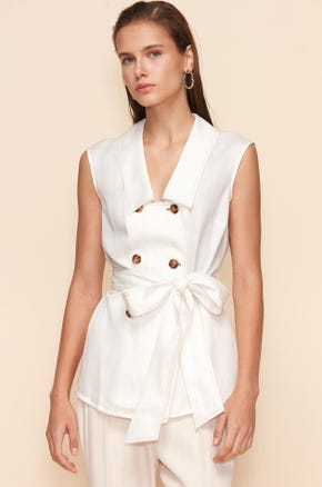 SLEEVELESS DOUBLE-BREASTED BLOUSE